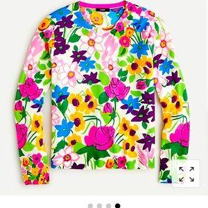 JCrew Margot sweater in vibrant garden print